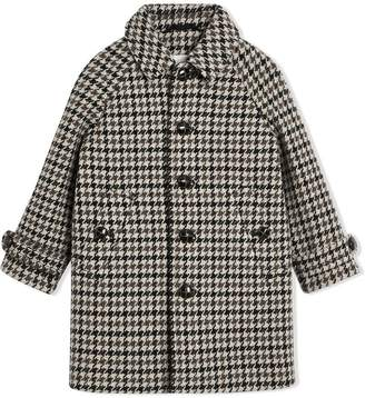 Burberry Houndstooth Check Wool Cashmere Blend Coat