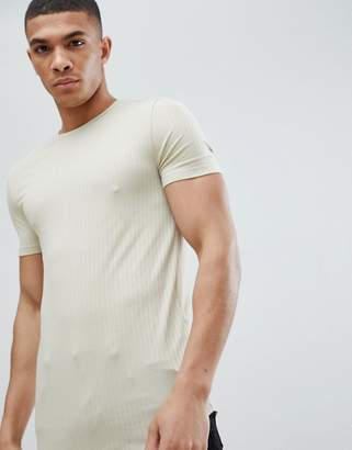 BEIGE Asos Design ASOS DESIGN muscle fit longline rib t-shirt with curved hem in