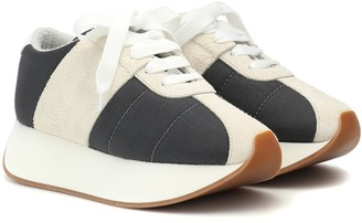 Marni Big Foot mesh and suede sneakers