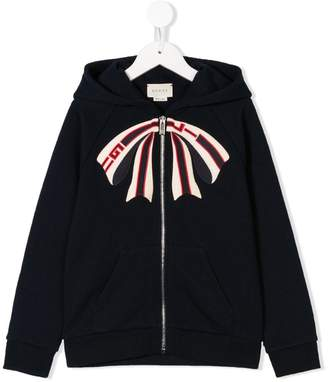 Gucci Kids bow embroidered hoodie