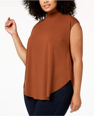 Eileen Fisher Plus Size Stretch Jersey Mockneck Top