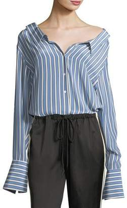 Robert Rodriguez Striped Button-Front Gathered-Back Silk Satin Shirt