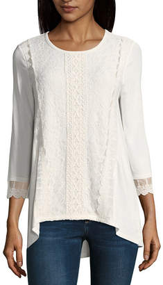 89TH AND MADISON 89th & Madison 3/4 Sleeve Lace Front T-Shirt-Womens