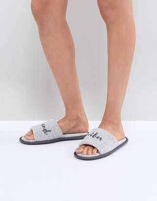 Asos DESIGN Nexon Weekend Vibes Towelling Slippers