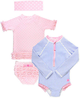 RuffleButts Stripe & Polka-Dot 4-Piece Layette Set, Size 2-8