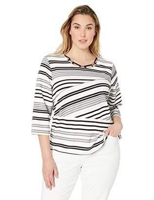 Alfred Dunner Women's Size Plus Spliced Stripe Assymetrical Hem Knit Top