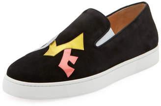 Christian Louboutin Men's Love Appliqué; Suede Slip-On Sneakers
