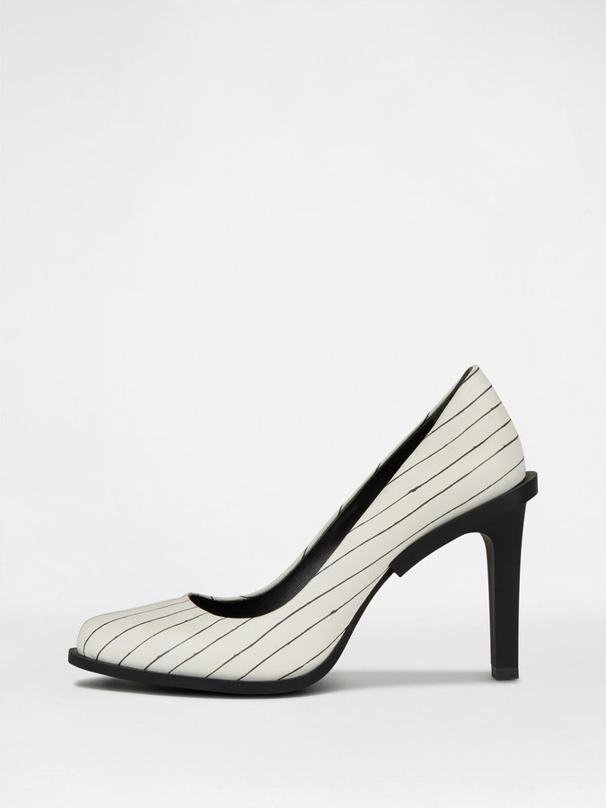 DKNY Prim Leather Pinstripe Pump With Rubber Heel
