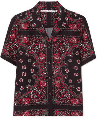 Alexander Wang Printed Silk-crepe Shirt - Black