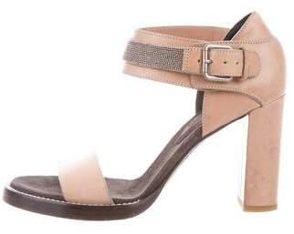Brunello Cucinelli Monili-Trimmed Crossover Sandals