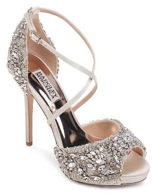 Badgley Mischka Women's Hyper Embellished Satin Platform High-Heel Sandals