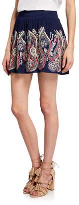 Ramy Brook Maelen Embroidered Smocked Mini Skirt