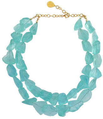 Devon Leigh Double-Strand Raw Quartz Necklace, Blue