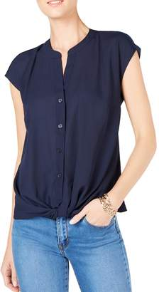 INC International Concepts Cap-Sleeve Twist-Front Top