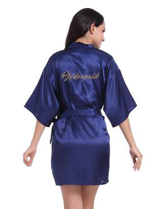 f49215d116 Honeystore Women s Short Kimono Bridesmaids Robes for Bride Wedding Party M