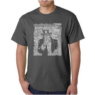 SAM. LOS ANGELES POP ART Los Angeles Pop Art Uncle Short Sleeve Word Art T-Shirt-Men's Big and Tall