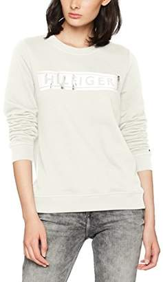 Tommy Hilfiger Women's TAMITA C NK Sweatshirt LS (Snow White 118), (Size: Large)