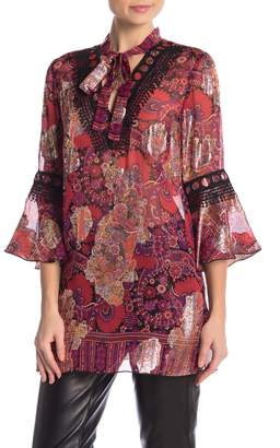Anna Sui Front Tie V-Neck Paisley Print Tunic