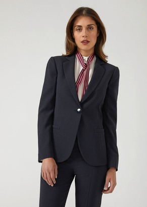 Emporio Armani Slim Fit Single-Breasted Jacket In Cady