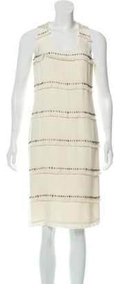 Magaschoni Silk Rhinestone-Embellished Midi Dress w/ Tags