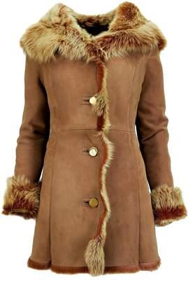 DX-Exclusive Wear Womens Suede Toscana Sheepskin coat, Fur Coat / Leather coat KPKK-0011 (XXXL)