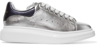 Alexander McQueen - Metallic Leather Sneakers - Silver $575 thestylecure.com