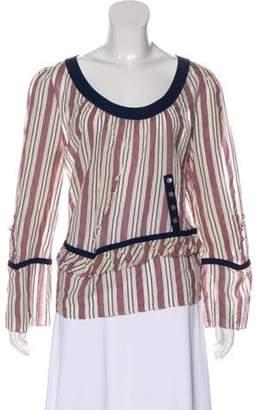 Marni Striped Long Sleeve Blouse Tan Striped Long Sleeve Blouse