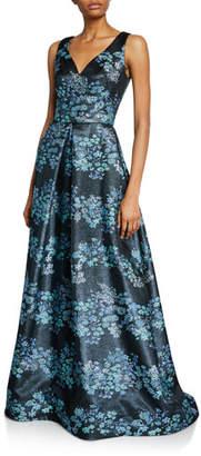 Theia Metallic Floral V-Neck Sleeveless A-Line Gown