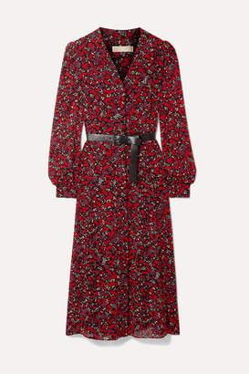 MICHAEL Michael Kors Belted Printed Georgette Midi Dress - Red