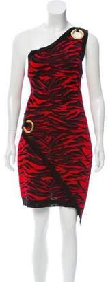 Balmain 2017 Jacquard One-Shoulder Dress