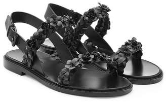 Valentino Flower Embellished Leather Sandals