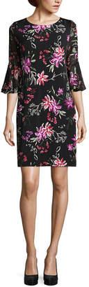 Studio 1 3/4 Sleeve Floral Shift Dress