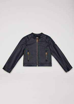 Armani Junior Faux Leather Biker Jacket