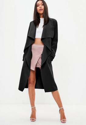 Missguided Black Oversized Waterfall Duster Jacket