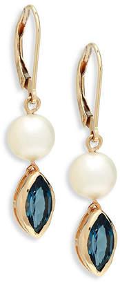 Saks Fifth Avenue Blue Topaz 8Mm Champagne Freshwater Pearl Drop Earrings