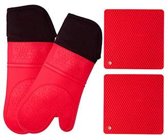 Silicone Oven Mitts and Potholders (4-Piece Set) Heavy Duty Cooking Gloves