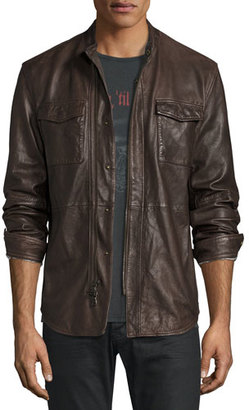 John Varvatos Star USA Leather Shirt Jacket, Dark Brown $698 thestylecure.com