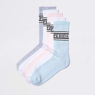 River Island Pink pastel slogan tube socks