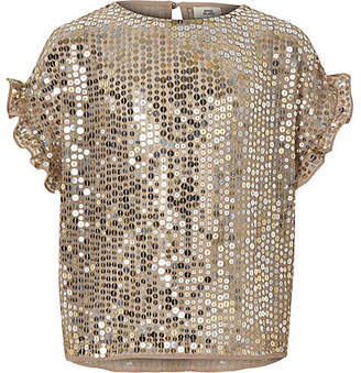 River Island Girls gold sequin frill sleeve T-shirt