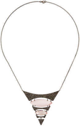 Bavna Rose Quartz & Diamond Pave Tiered Pendant Necklace