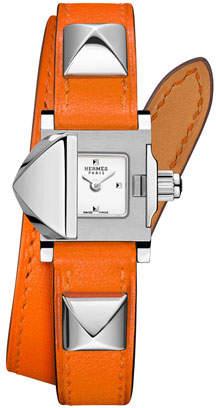 Hermes 16mm Medor Mini Watch w/ Orange Leather Strap