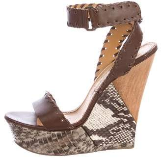 Lanvin Python Wedge Sandals