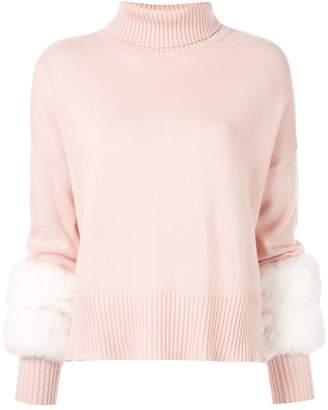 Izaak Azanei faux fur trimmed jumper