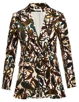 Chloé Paisley Print Velvet Fitted Jacket - Womens - White Multi