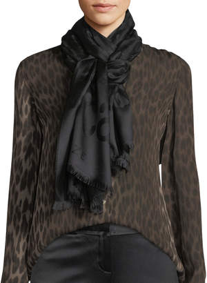 Roberto Cavalli Jaguar Jacquard Silk/Wool Scarf