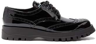 Prada Patent Leather Flatform Brogues - Womens - Black