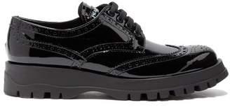 Prada - Patent Leather Flatform Brogues - Womens - Black