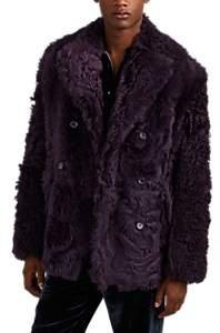 Sies Marjan Men's Emery Shearling Peacoat - Purple