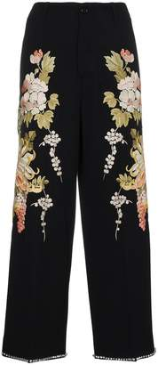 Gucci Floral Embroidered Flared Trousers