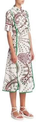 Valentino Leopard Illustration Print Poplin Shirt Dress